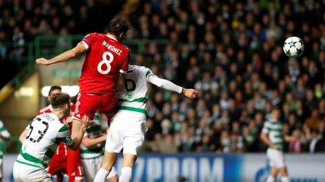 Javi Martínez marca su primer gol de Champions League al Celtic en Glasgow (31-10-17)