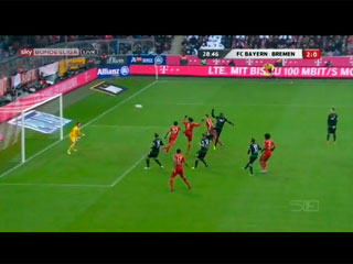 Gol de Javi Martínez 2-0. F.C. Bayern 6 - SV Werder Bremen 1 (23-02-13) Bundesliga