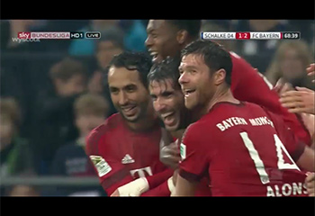 Gol de Javi Martínez (1-2). Schalke 04 1 - F.C. Bayern 3 (21-11-15) Bundesliga 1