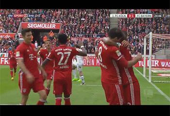 Gol de Javi Martínez (0-1). 1. FC Köln 0 - FC Bayern 3 (04-03-17) Bundesliga 1